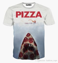 Wholesale Shirt 3d Shark - tshirt PIZZA Letter t-shirt for men women 3d tshirt funny print swimming women on shark Hip Hop graphic t shirt