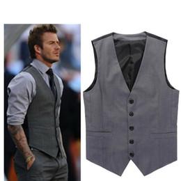 Wholesale Dresses Beckham - 2017 Hot Sale Grey Slim Fit Dress Vests For Men David Beckham Formal Mens Suit Wedding Sleeveless Jacket Blazer Chaleco Hombre