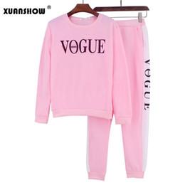 Trajes de moda on-line-XUANSHOW Outono Inverno 2 Peça Set Mulheres VOGUE Letras Impresso Moletom + Calças Terno Fatos de Treino de Manga Longa Sportswear Outfit