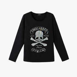 Wholesale Bling Shirts Rhinestone - Fashion Punk style Skull rhinestone t shirt long sleeve bling diamond Women Top tees M-XXL Women shirt with rhinestones Hot