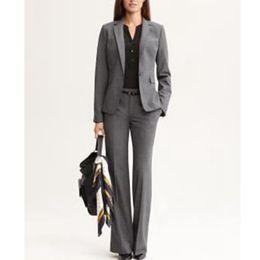 2019 ternos de negócios casaco calça Custom cinza escuro senhoras escritório de negócios vestido formal macacão terno (casaco + calça) moda casual terno das mulheres desconto ternos de negócios casaco calça