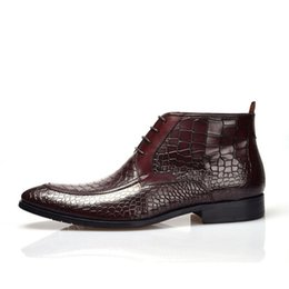 Männer rote schlangenhautstiefel online-New British Style Black Red Snakeskin Pattern Genuine Leather Lace-up Martin Man's England Motorcycle High-top Boots