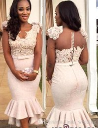 2017 Barato South Afraican Black Girls Sheer Back Vestido de dama de honor Sirena Longitud de té Vestido formal de dama de honor Más Tamaño por encargo desde fabricantes