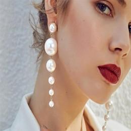 Longs pendentifs en perles d'imitation en Ligne-Mode chaude boucle d'oreille longue style pendentif perle d'imitation smart boucle d'oreille pour femme et fille livraison gratuite