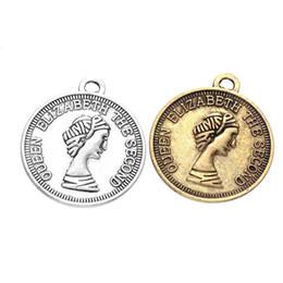Argentina 200pcs 25 * 28mm joyería de bricolaje antigua aleación de oro de plata Queen Elizabeth segunda belleza cabeza holandés monedas encantos colgante para collar cheap antique charms coins Suministro