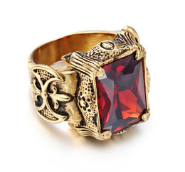 Wholesale celtic dragon wedding rings - Vintage Gold Color Dragon Claw Rings Men Jewelry Stainless Steel Big Red Green Purple White CZ Crystal Stone Ring Men Punk Rock Mens Rings