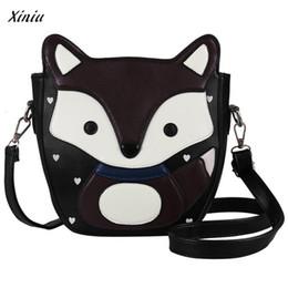 Wholesale girls pussy - Women Cartoon Fox Campus Shoulder Bag Leather Bolsa feminina Carteras mujer Child pussy Messenger Body Bag