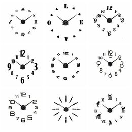 Wholesale acrylic craft - 18 Styles Silver Black Acrylic Wall Clocks Stickers Home Decor Bedroom Decoration Wall Mirror wallpaper Household Craft Suppiles