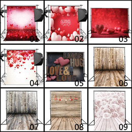 cuori di sfondo della fotografia Sconti Love Hearts Wedding vinile Pavimento in legno Fotografia Sfondo Studio fotografico Puntelli Sfondo Home Decor Sfondi per San Valentino 80 * 125 cm