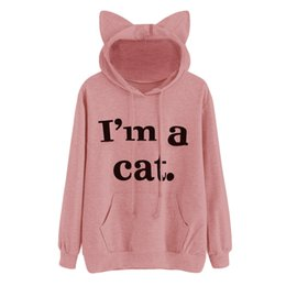 cat print jumper Promo Codes - Women's printing sweatershirt Womens Cat Long Sleeve Hoodie Sweatshirt Hooded Pullover Tops Blouse Jumper Coat july18