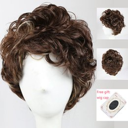 Wholesale Synthetic Hair Wigs For Men - Brown Short Synthetic Hair Wigs for Women Men Natural Style Heat Resistant Fiber Wigs African American Curly Wigs Free Shipping