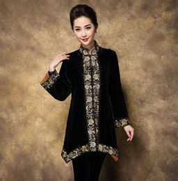 Wholesale Chinese Silk Jackets Women - High Quality Chinese Women Silk Velvet Jacket Vintage Embroidery Flower Coat Spring Autumn Outerwear Plus Size 3XL 4XL MD018
