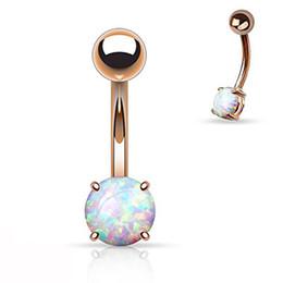2019 14g de oro Showlove-1pc Rose Gold Prong Set Opal Gem ombligo ombligo anillos Piercing Bar joyería del cuerpo encantador 14G 14g de oro baratos