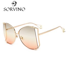 Wholesale Pearl Shade - SORVINO 2018 Oversized Round Butterfly Sunglasses Women Retro Vintage Lady Metal Frame Pearl Tips Sun Glasses Shades Luxury Brand Designer