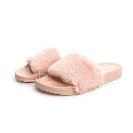 Wholesale Wholesale Hotel Plush Slippers - 2018 New fashion Rihanna Leadcat Fenty Color Slipper Faux Fur Burgundy Slide Slippers Ladies villus Indoor Purple Pink Sandals