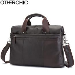 "Wholesale Lawyers Briefcase - OTHERCHIC Brand Briefcase Men Genuine Leather Portfolios 14"" Laptop Business Messenger Crossbody Bag Men Lawyer Handbags 7N06-35"