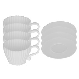 Wholesale Cup Coffee Saucer - 1Set Of 4Pcs White Silicone Bakeware Cake Mold With Saucer Muffin Case For Kids Party Teacup Coffee Cup Baking Dish confeitaria