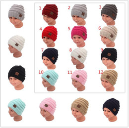 Wholesale baby sailor hats - Kids Winter Keep Warm CC Beanie Labeling Hats Wool Knit Skull Designer Hat Outdoor Sports Caps For Baby Children Kid 2018 Fashion 10pc