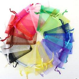 2019 sacchetti di compleanno all'ingrosso all'ingrosso Sacchetti in organza trasparente con cordoncino Sacchetti per regali da sposa 9x12 cm Borse per imballaggio di gioielli Sacchetti da sposa Decorazione multi-colori