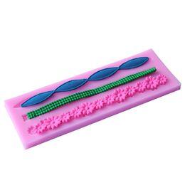 Wholesale Silicone Molds Fondant Flowers - 3D Lace Flower Bead Chain Shape Silicone Fondant Mould Cake Decorating Baking Molds Sugar Paste Tools
