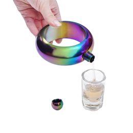 Deutschland Hot Bangle Flask Edelstahl Wein Flachmann Armband Form Whisky Drink Trichter Weinflasche Set Regenbogen Gold Versorgung