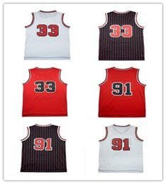 Wholesale embroidery jerseys - Mesh Dennis Rodman 91# Jerseys Mesh Scottie Pippen #33 Jersey Jerseys sales embroidery Logos free shipping