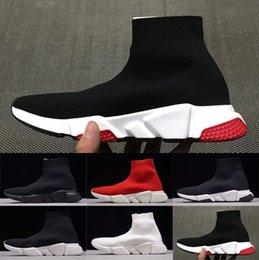 Wholesale womens black cotton socks - 2018 Luxury Sock Shoes Speed Trainer Running Shoes For Womens Mens Sneakers City Socks Triple Black Red White Walking Shoes
