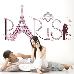 2019 pau de casca de quadro New 3D Paris Torre Eiffel Grande Adesivo de Parede Home Decor Sala Amante Romântico Decalques de Parede Borboletas Flores Adesivo Mural