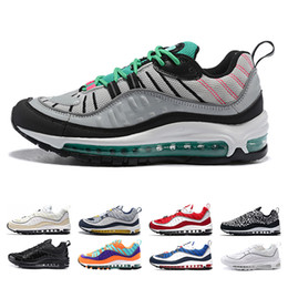 superior quality 46a77 8cff7 air max 98 airmax 98s South Beach Thunder Bleu Gundam Cone Hommes chaussures  de course Triple Noir Blanc Gym Rouge AOP Tour Jaune sport Baskets Sneakers  air ...