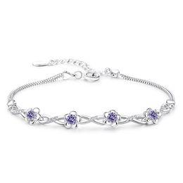 Bracelets d'amitié fleur en Ligne-Bijoux Dames Bracelets Bracelets Cubique Zircone Trèfle Fleur Amitié Bracelets Coréens Pour Les Femmes Or Blanc Plaqué WHBG49