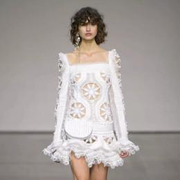 2019 broderie à la mode HIGH STREET New Fashion 2018 Designer Runway Dress Robe évasée pour femmes Col Carré Col Superbe Robe De Bal De Broderie broderie à la mode pas cher