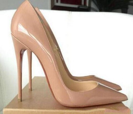 Wholesale Nude Stilettos - Women wendding shoes,Women Black Sheepskin Nude Patent Leather Poined Toe Women Pumps,120mm Fashion lRed Bottom High Heels Shoes with box