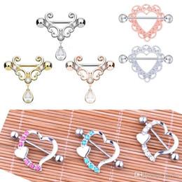 Кольца для сосков онлайн-4 стиль смешанный цвет ниппель пирсинг мода пирсинг в форме сердца Циркон ниппель пирсинг кольца ювелирные изделия тела для женщин Девушки