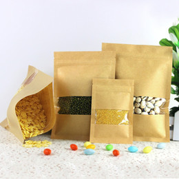 Wholesale Valve Windows - 8pcs pack Heat Seal Stand Up Valve Ziplock Kraft Paper Pack Bags W  Frosted Window Biscuit Doypack Zipper Storage Pouch