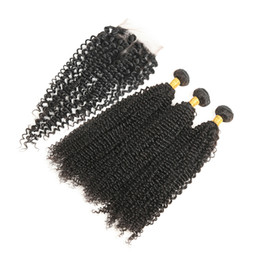Wholesale soft virgin curly hair - Brazilian Kinky Curly Hair with Closure Soft Brazilian Curly Weave Human Hair 3 Bundles With Closure Natural Color Free Shipping