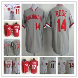 Wholesale Hot Johnny - Hot Sale Mens Cool Base 14 Pete Rose 5 Johnny Bench 11 Barry Larkin 17 CHRIS SABO red Throwback Cheap Baseball Jersey S-3XL