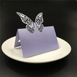 laser cutting wedding card designs Promo Codes - 50Pcs Lot Free shipping laser cut butterflies design Wedding Name Place invitation Cards Blue White RSVP Cards Party Table Decor