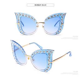 Lunettes de soleil full hd en Ligne-Gros yeux de soleil lunettes de soleil pleine mosaïque de diamant HD luxe Bling cristal surdimensionné UV400 lunettes de soleil femmes Street Beat Sunglas livraison gratuite