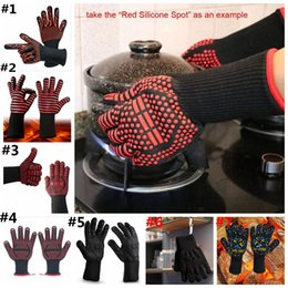 Wholesale Fire Fingers - BBQ Gloves Microwave Oven Gloves 7 designs Heat Resistance 500 Centigrade Fire prevention Aramid glove Silicone Baking Gloves 50pcs YYA1004