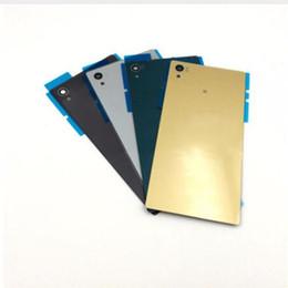 Argentina cubierta de la caja para Sony Xperia Z5 trasera de vidrio cubierta trasera cubierta de la puerta de la batería con el logotipo y la etiqueta engomada doble piezas de repuesto Suministro