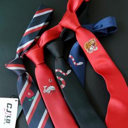Модные мужские мальчики классические Вышивка Тигровая змея Кит-акула животное картина случайная вечеринка тощий галстук шеи 6см