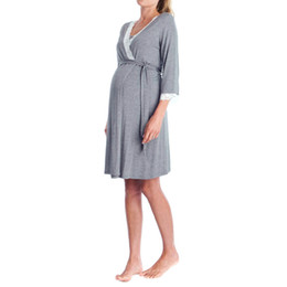 Womens Lace Pregnants Casual nursing baby per maternità pigiama Night-Rob Dress allentato confortevole abito manica lunga incinta da