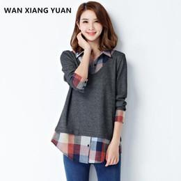 Wholesale Plaid Tunic Xl - WAN XIANG YUAN Large Size Tunics Shirt Autumn 2017 Fashion Long Sleeve Plaid Shirt Female Blouse Womens Shirts Big Size 1111