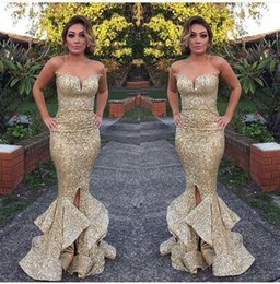 Wholesale Strapless Sparkly Prom Dresses - 2018 Sexy Sparkly Sequins Gold Mermaid Long Dresses Evening Wear With Split Slit Sweetheart Ruffles Arabic Occasion Prom Party Gowns