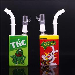 "Wholesale liquid smoke juice - Juice Box Beaker Bongs Hitman Glass Dab Oil Rigs 7.5"" inch Liquid Sci Glass Water Pipes Cube smoking pipe glass bong"