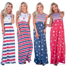Toptan Ücretsiz Kargo Yaz kadın bayrak baskı kolsuz elastik bel pamuk uzun rahat plaj düz artı boyutu elbise supplier wholesale cotton beach dresses nereden toptan pamuklu plaj elbiseleri tedarikçiler