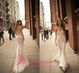Wholesale Sexy Sweetheart - Sexy Mermaid Sweetheart Wedding Dresses 2018 Backless Sleeveless Sweep Train Lace Applique Bridal Gowns Custom Made