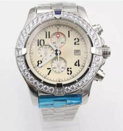 Wholesale Mens Watc - 2018 New Quality White Dial Watch Stainless Steel Belt Siliver Skeleton Mens Watc Auto Date Quartz Chronograph Men Watches