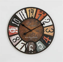 Wholesale vintage style wall clocks - Wall clock 58cm antique style Vintage Rustic vintage Kitchen Home Coffeeshop Bar Large Wall Clock Decor