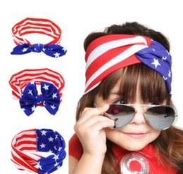 Wholesale red white blue striped flag - American Flag Headband 4th of July Independence Day childrens headdress Knotted rabbit ears Headband with American Flag Hair Accessories
